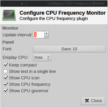 CpuFreq Preference dialog.