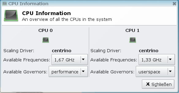 CpuFreq Overview dialog.